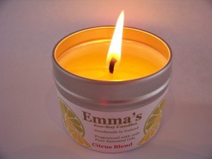 Emma's So Naturals Tin Candle with good burn pool.