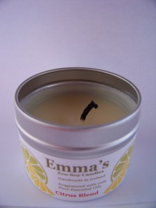 Emma's So Naturals tin candle with wick too long