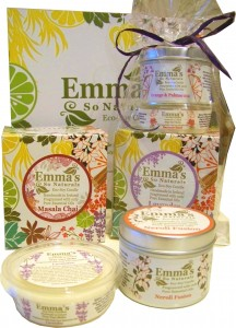 Emma's Candle Trio Gift Set Wrapped & Items