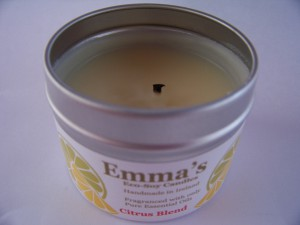 Emma's So Naturals Candle with wick correctly trimmed.